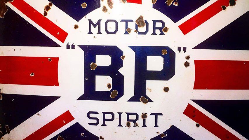 BP Motor Spirit Sign at the Bearded Man
