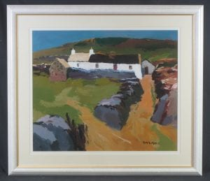 Oil on board titled White cottage, North Wales by Royal Cambrian Academy member Donald McIntyre (1923-2009) is pitched at £4000-5000