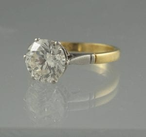 Diamond Solitaire Ring with a single brilliant cut stone of an estimated 2.31 carats