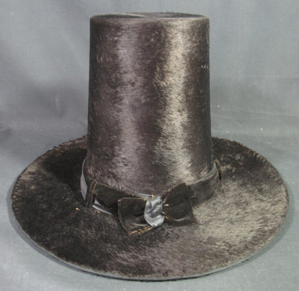 19th century traditional welsh moleskin ladies stovepipe hat